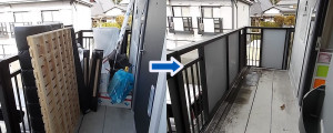 三田市でシングルベッド、メタルラックなど回収写真1